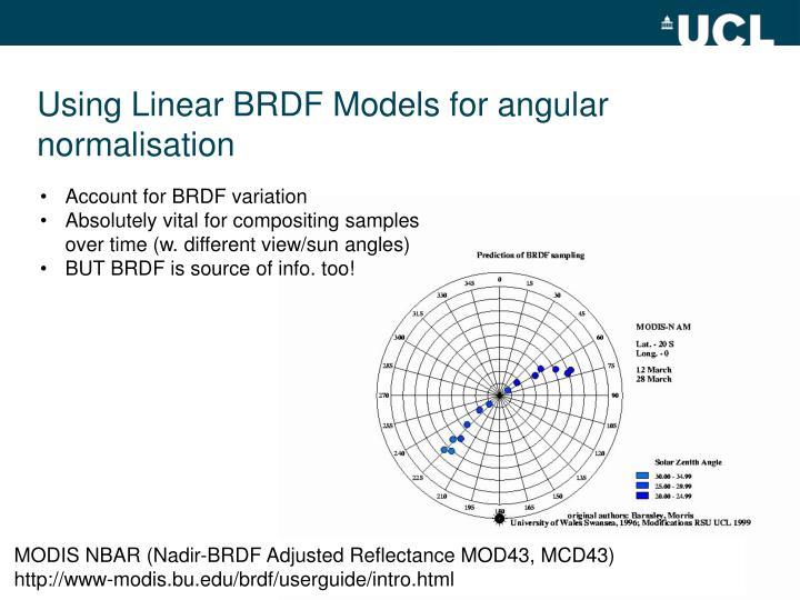 Using Linear BRDF Models for angular