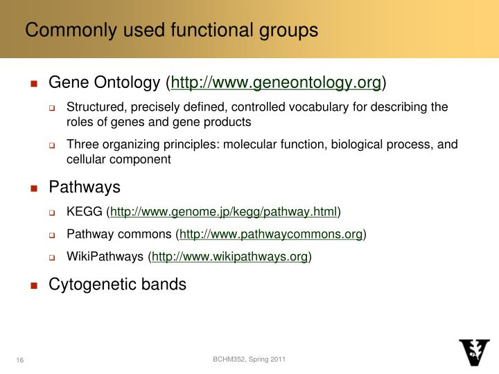 Commonly used functional groups