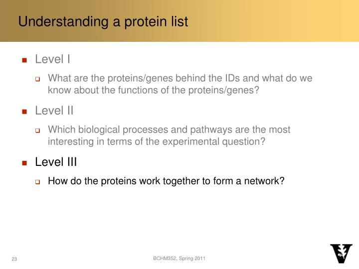 Understanding a protein list