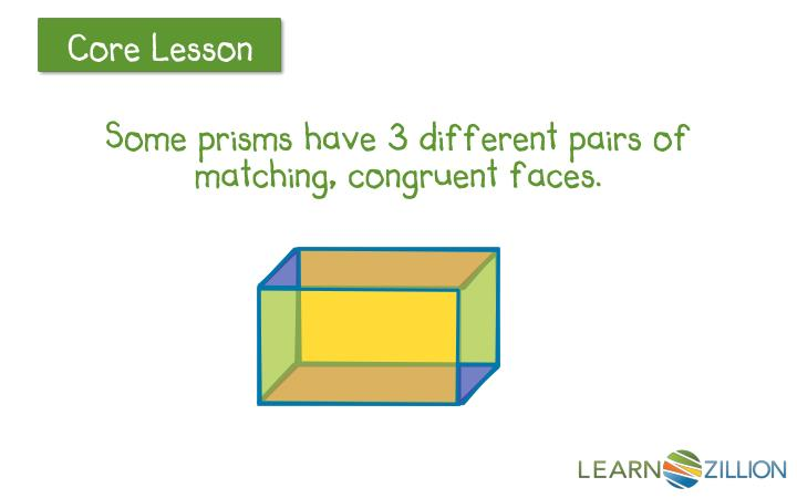 Some prisms have 3 different pairs of matching, congruent faces.