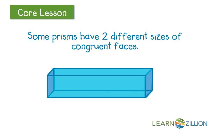 Some prisms have 2 different sizes of congruent faces.