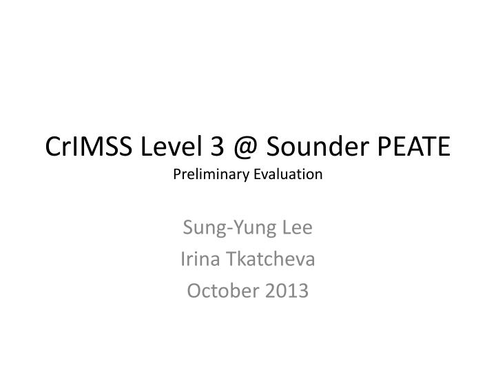 crimss level 3 @ sounder peate preliminary evaluation n.