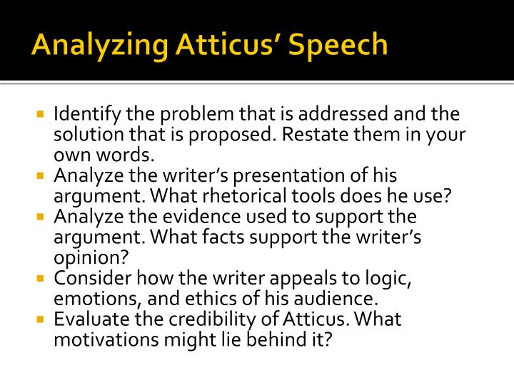 Analyzing Atticus' Speech