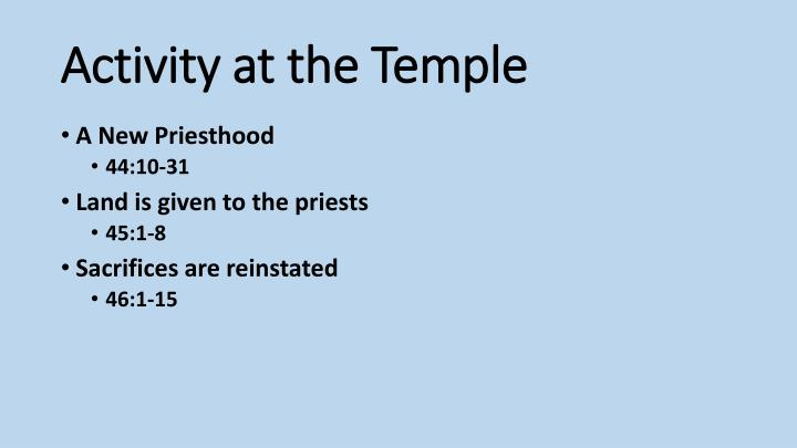 Activity at the temple