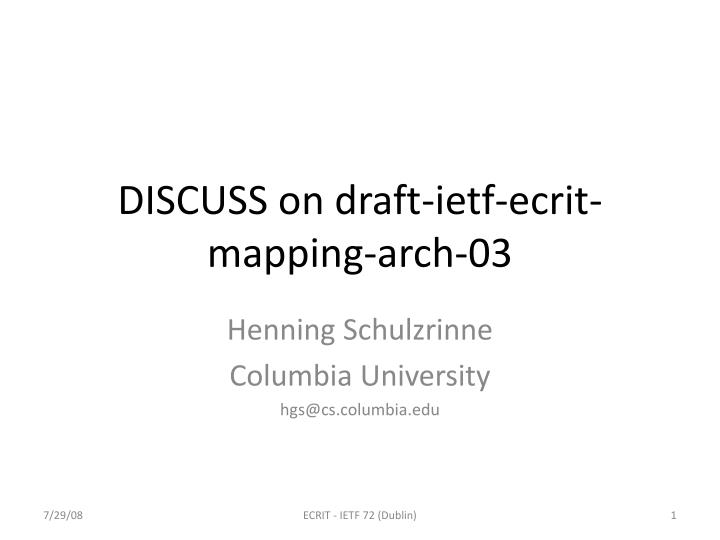 Discuss on draft ietf ecrit mapping arch 03