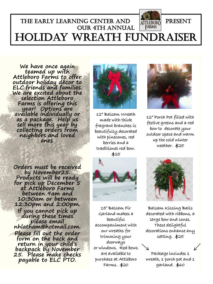 the early learning center and present our 4th annual holiday wreath fundraiser n.