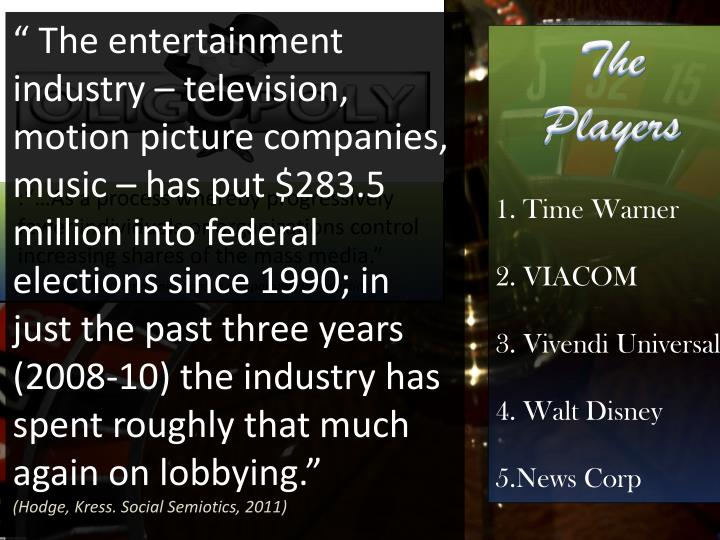 """"""" The entertainment industry – television, motion picture companies, music – has put $283.5 million into federal elections since 1990; in just the past three years (2008-10) the industry has spent roughly that much again on lobbying"""