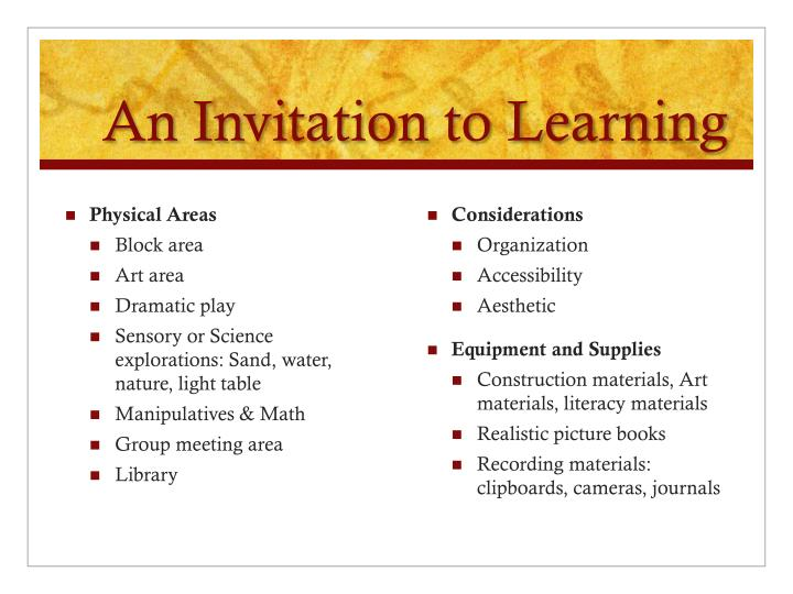 An Invitation to Learning