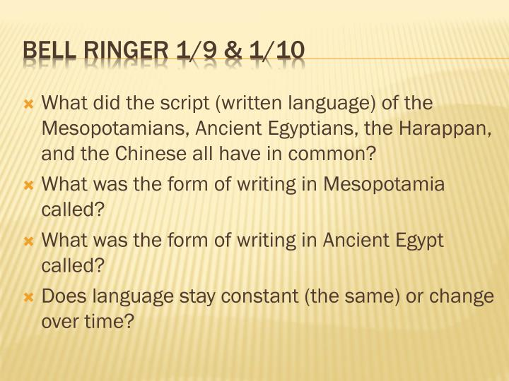 What did the script (written language) of the Mesopotamians, Ancient Egyptians, the