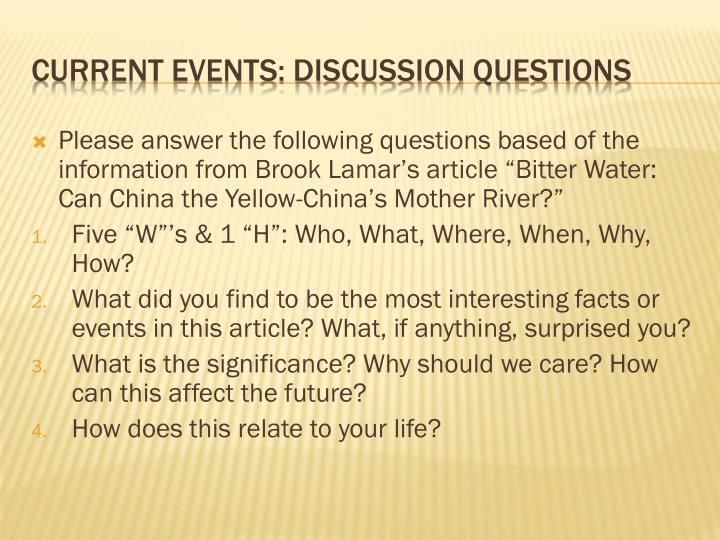 """Please answer the following questions based of the information from Brook Lamar's article """"Bitter Water: Can China the Yellow-China's Mother River?"""""""