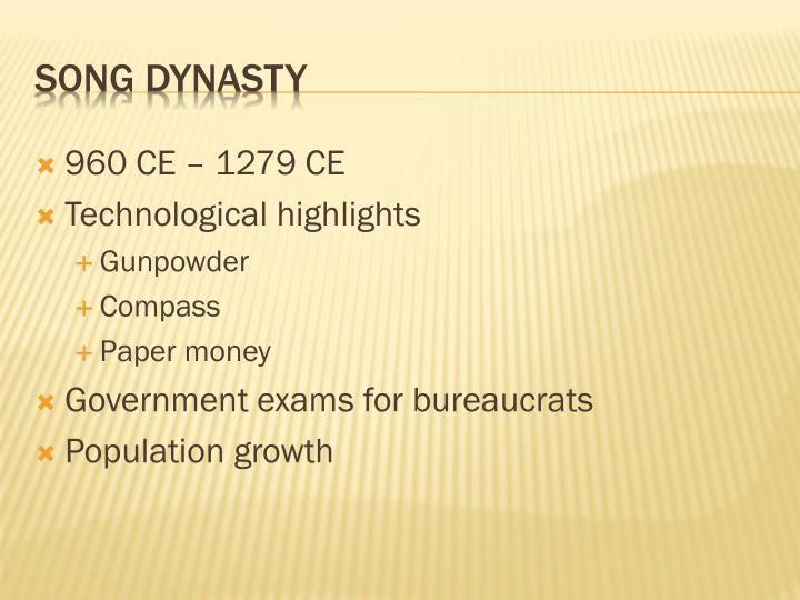960 CE – 1279 CE