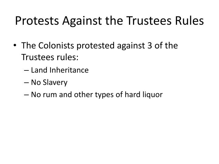 Protests Against the Trustees Rules