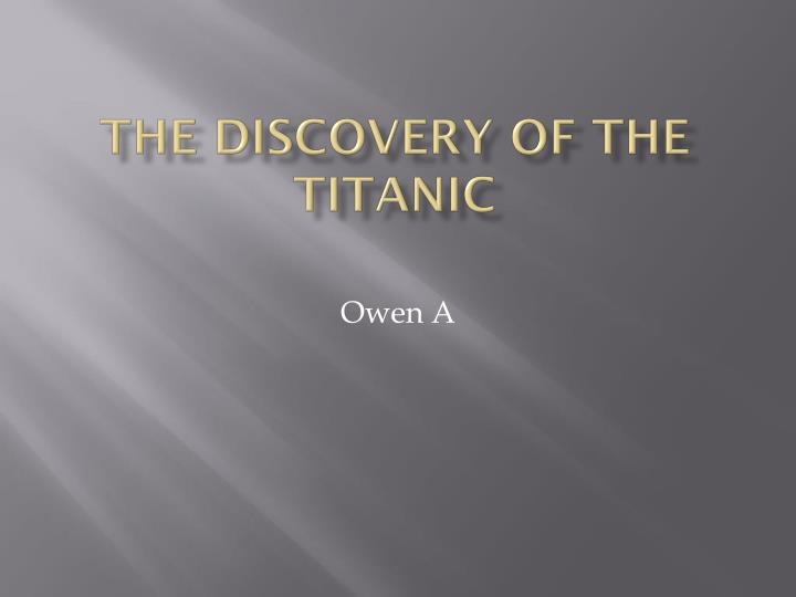 the discovery of the titanic n.