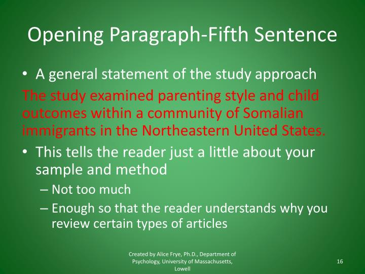 Opening Paragraph-Fifth Sentence