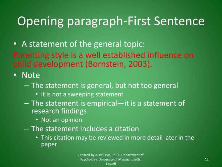 Opening paragraph-First Sentence