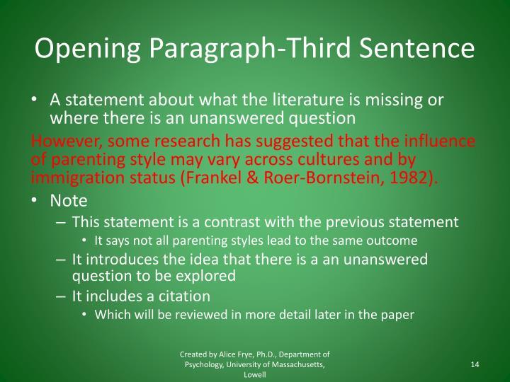 Opening Paragraph-Third Sentence