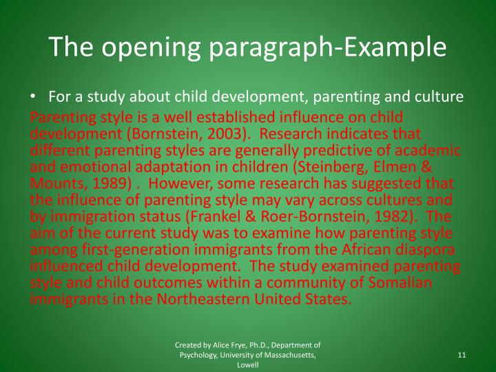 The opening paragraph-Example