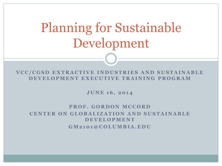 planning for sustainable development n.