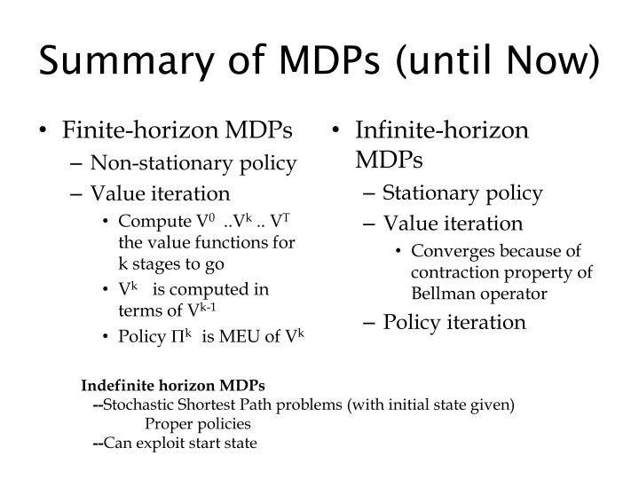summary of mdps until now n.