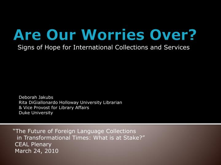 signs of hope for international collections and services n.