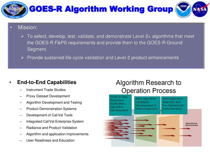 goes r algorithm working group n.