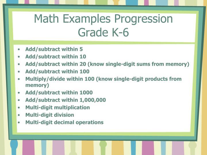Math Examples Progression
