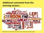 additional comments from the morning session