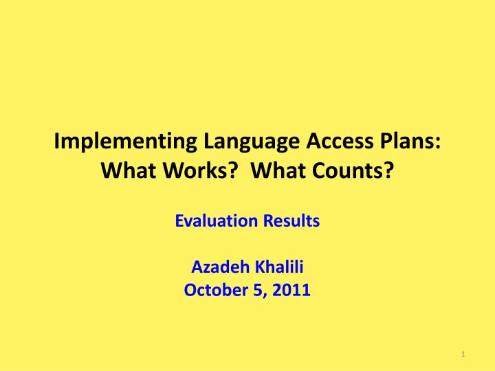 implementing language access plans what works what counts n.
