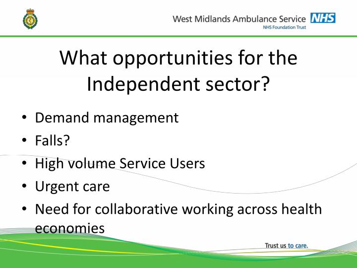 What opportunities for the Independent sector?