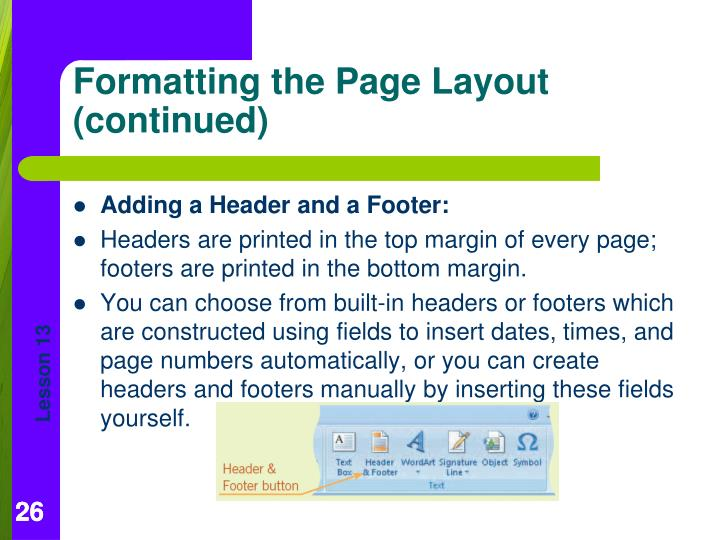 Adding a Header and a Footer: