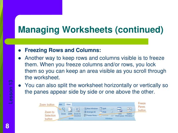 Freezing Rows and Columns: