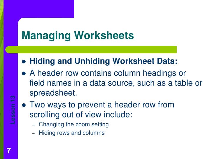 Hiding and Unhiding Worksheet Data: