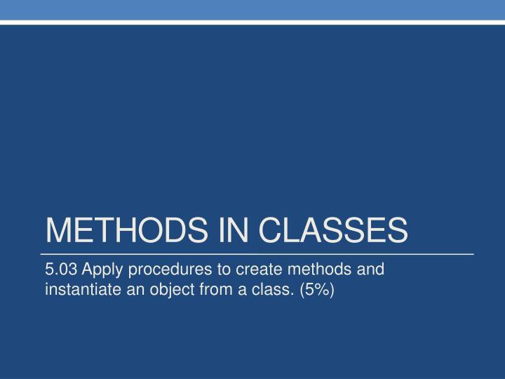 Methods in Classes