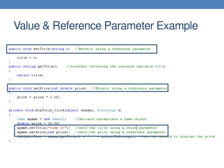 Value & Reference Parameter Example