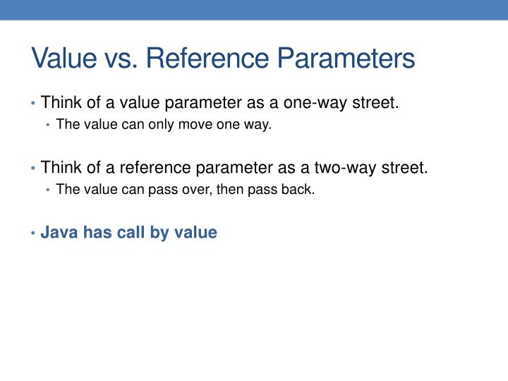 Think of a value parameter as a one-way street.