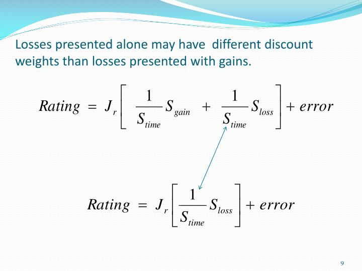 Losses presented alone may have  different discount weights than losses presented with gains.