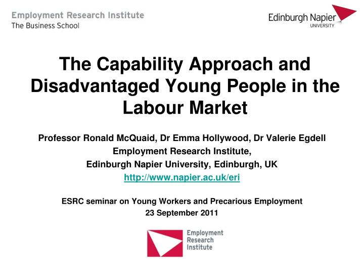 the capability approach and disadvantaged young people in the labour market n.