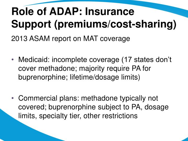 Role of ADAP: Insurance Support (premiums/cost-sharing)