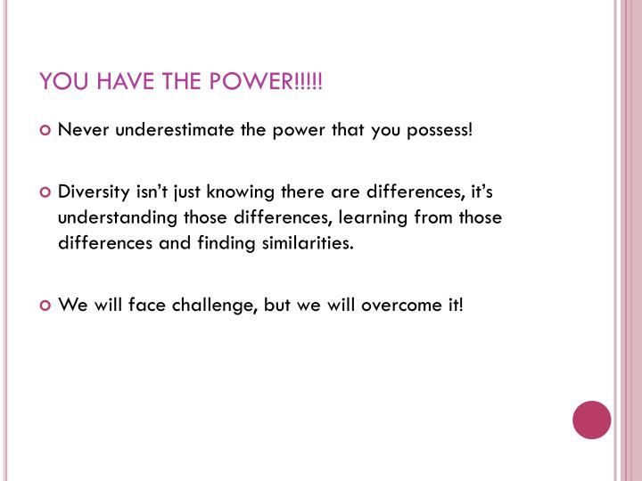 YOU HAVE THE POWER!!!!!