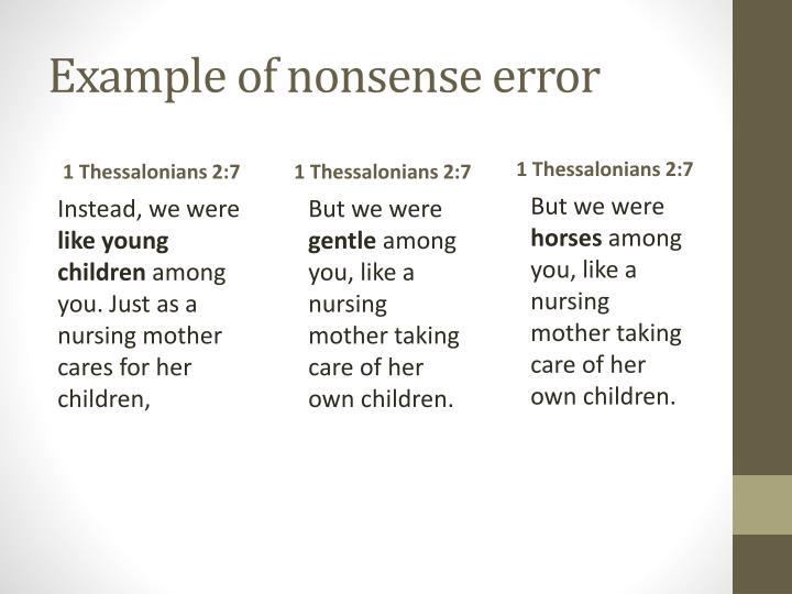 Example of nonsense error