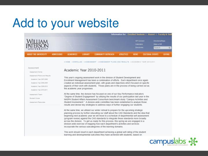 Add to your website
