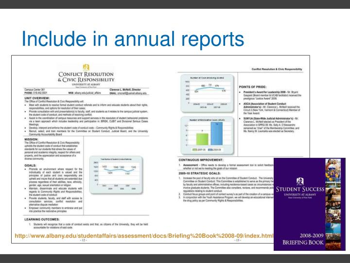 Include in annual reports