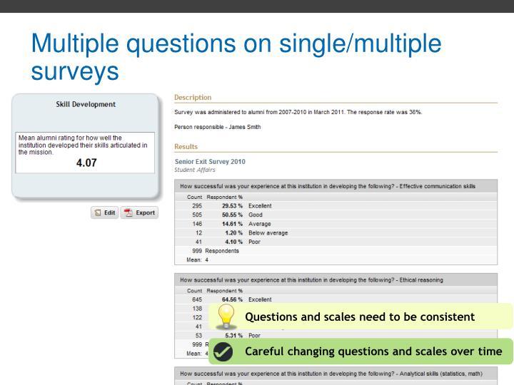 Multiple questions on single/multiple surveys