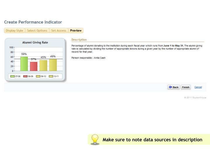 Make sure to note data sources in description