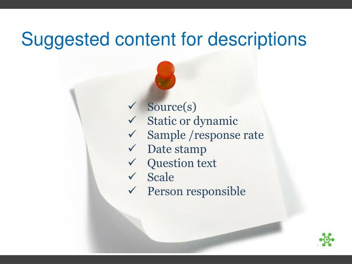 Suggested content for descriptions