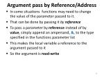 argument pass by reference address