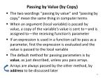 passing by value by copy