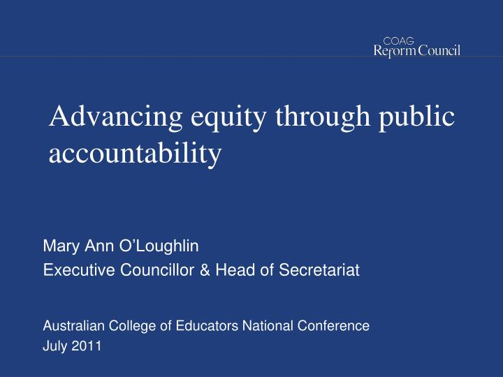 advancing equity through public accountability