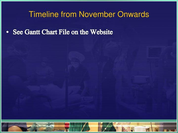 Timeline from November Onwards