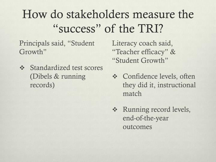 """How do stakeholders measure the """"success"""" of the TRI?"""